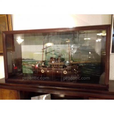 Marine Curios Large Ship Model - 1950s