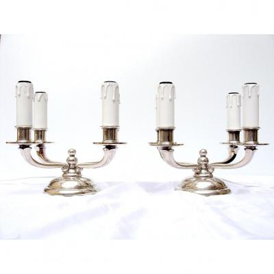Paire Lampes Art Deco 1930 Bronze Argente Chandeliers Bouts De Table Electrifies