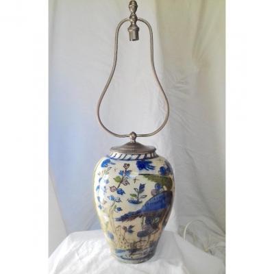Perse 19° Vase Lampe Kadjar Vase Céramique émaillée Iran Dynastie Kadjar 1794 1925