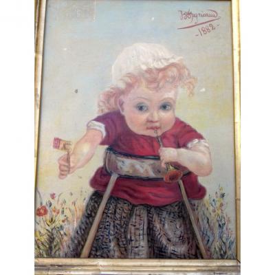 Curiosité - Tableau 19° Petite Fille Au Visage Etrange Portrait 19° Signé Peyricaud enfant