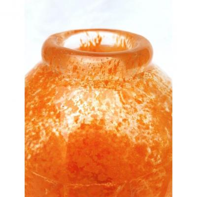 Grand Vase Art Deco 1930 Pate De Verre Orange Gravure Acide Signé Degué Motifs Géométriques