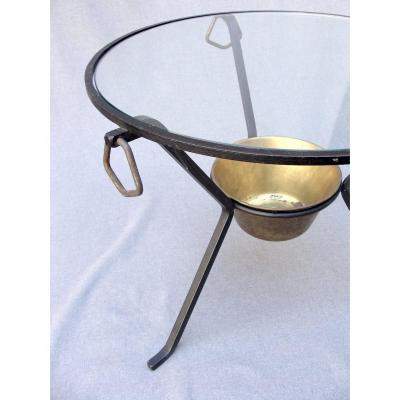 Adnet - Table Basse Fer Forgé Verre Bronze Design 1950 Moderniste