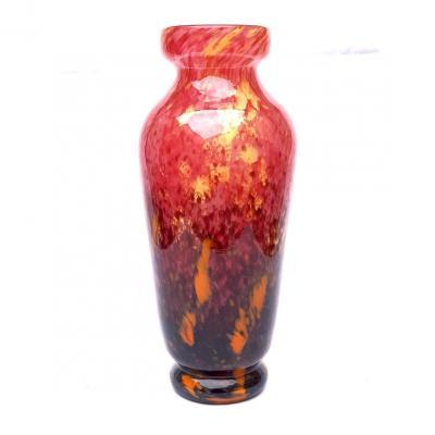 Charles Schneider - Grand Vase Art Deco Pate De Verre Signe Rose Mauve 1925 1930