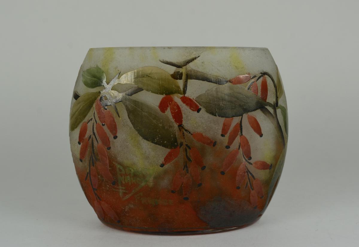 Daum Nancy Vase Art Deco Aplati