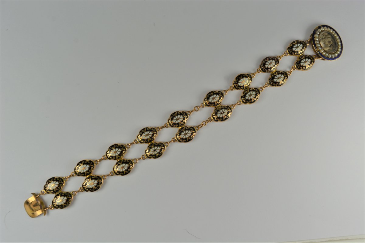 18k Gold Bracelet And Email Start XIX Century