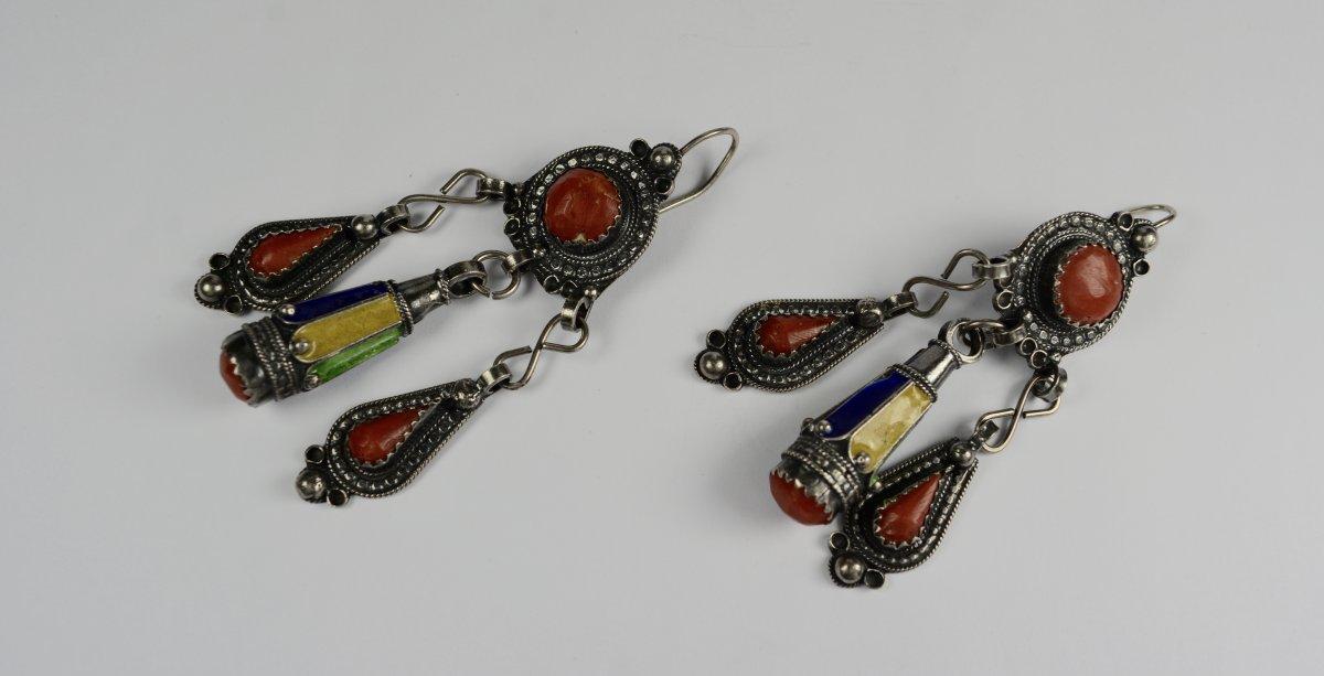 Paire De Boucles d'Oreilles En Argent, Bijoux Ethniques