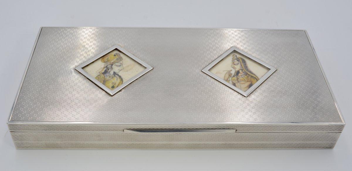 Silver Box And Medallions, India Circa 1900