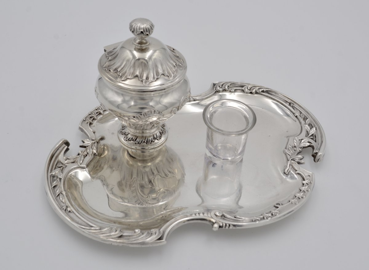 Inkwell Silver, France Nineteenth Century