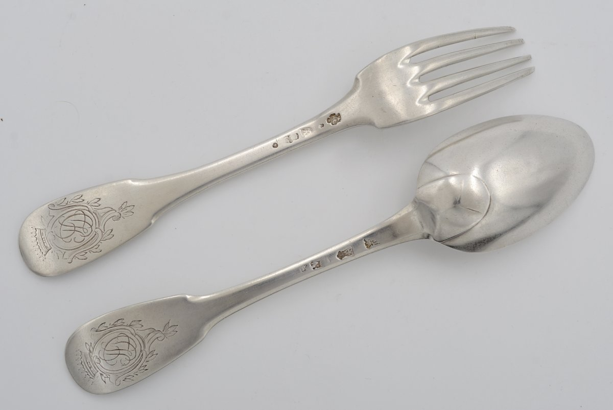 Silver Cutlery, France Punches To Farmers General Until 1786