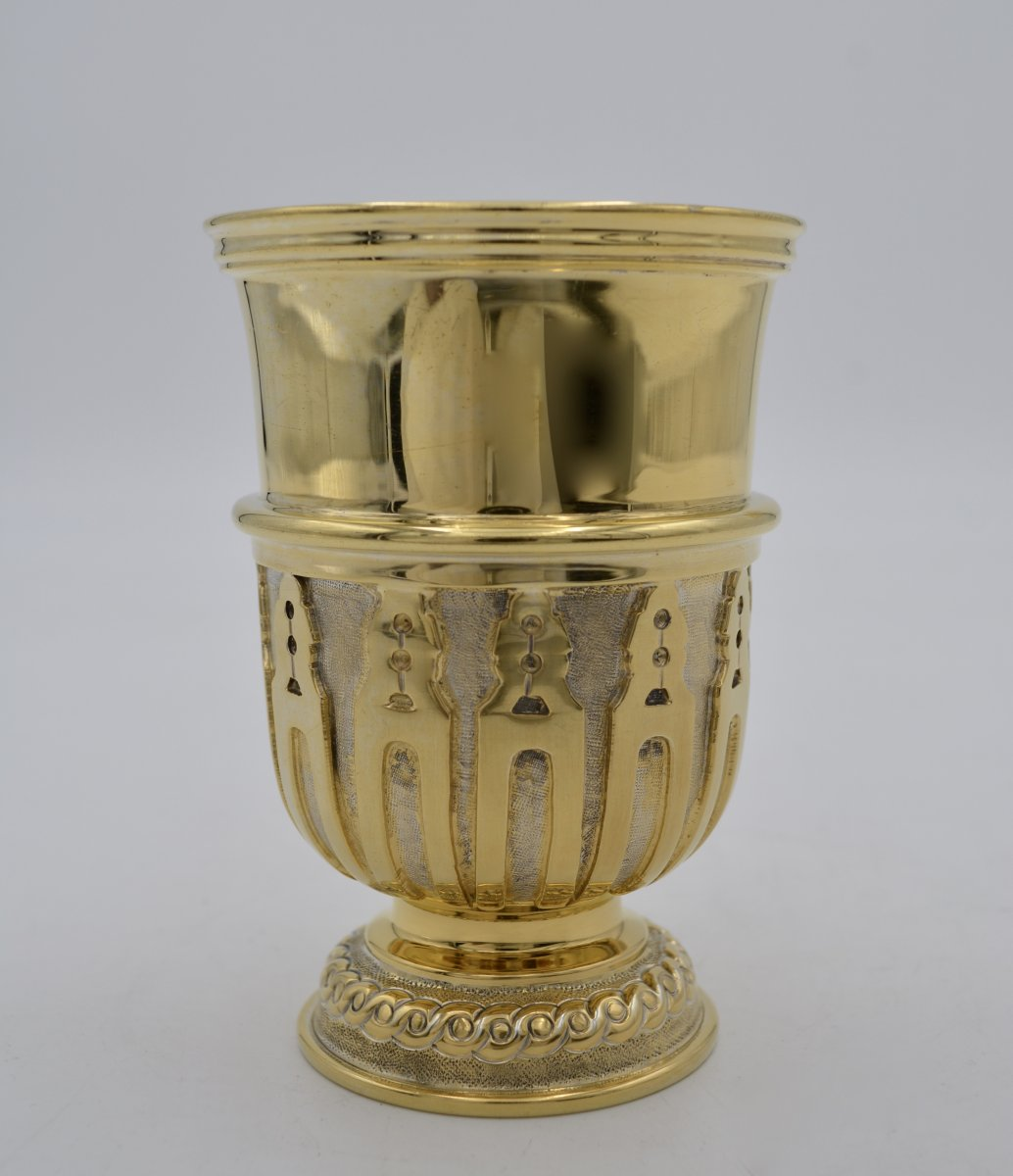 Timbal In Gilded Silver, Mexico  XX Century Tane Orfevres