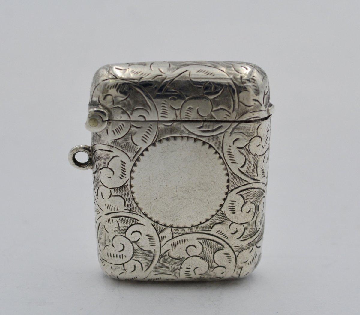 Matchbox / Pyrogen In English Silver Circa 1900