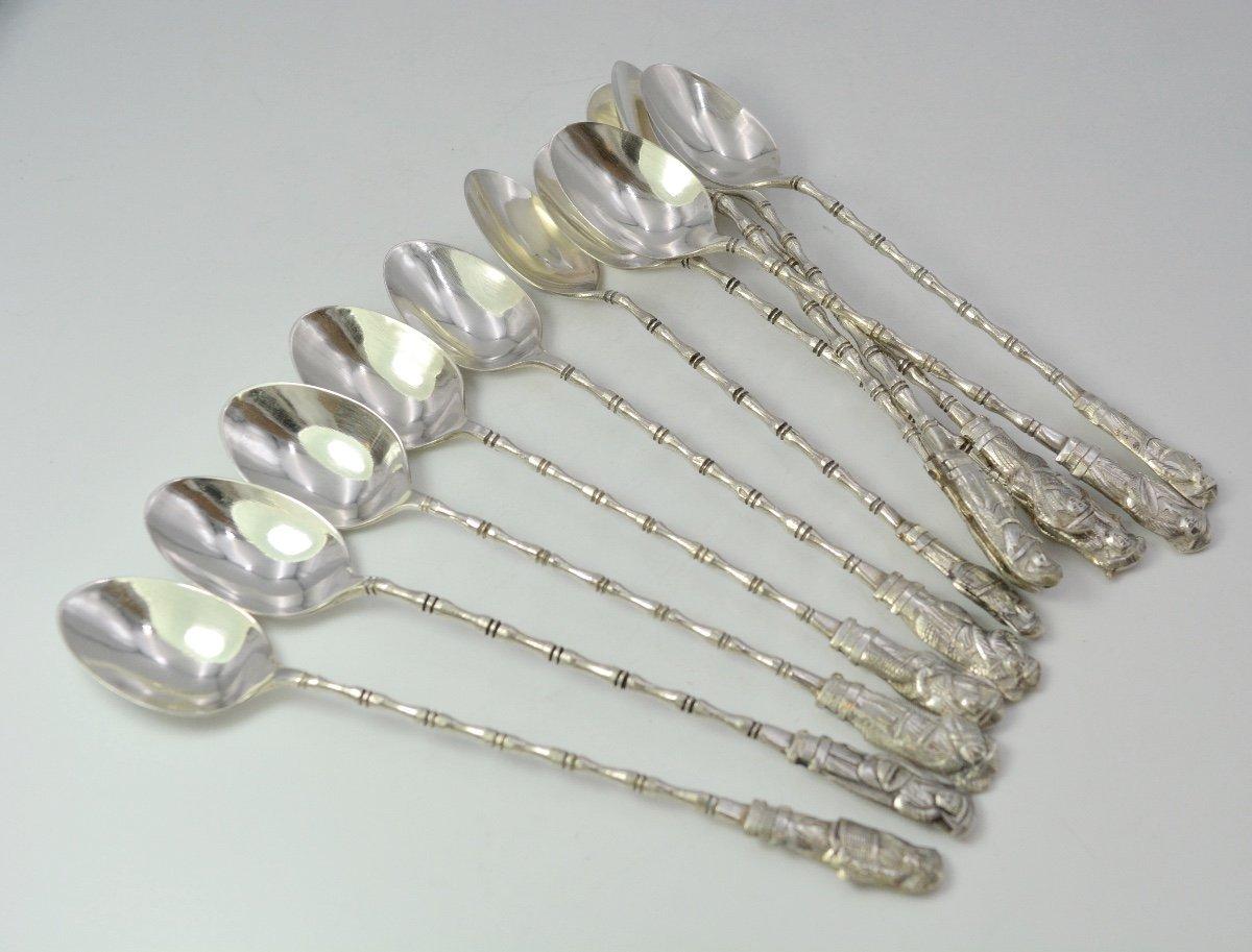 South East Asia. Twelve Silver Tea Spoons 20th Century-photo-4
