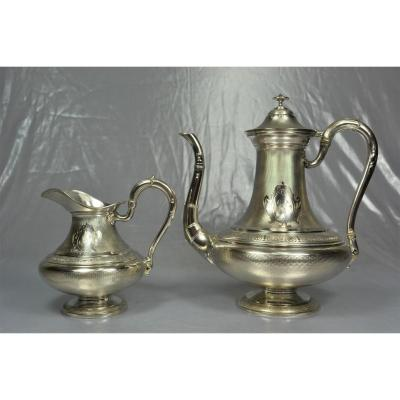 Teapot And A Milk Pot In Silver France 1864 Debain & Flamant