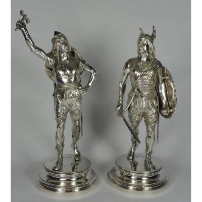 Two Gauls, Silver Bronze Signed E Guillemin