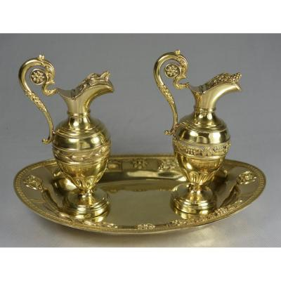 Cruets. Washbasin And Two Cruet Burettes. XIX Th
