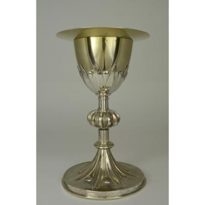 Chalice And Its Patene In Silver, France Circa 1900