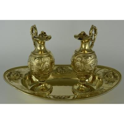 Burettes And Their Basin In Vermeil. France XIX Century