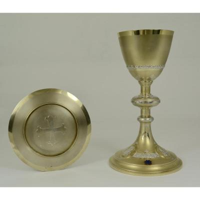 Chalice And Its Patene In Silver And Vermeil, France Circa 1900