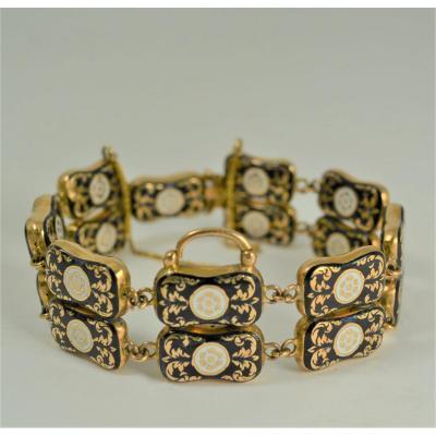 Bracelet En Or 18 K Et Email Début XIX Siècle