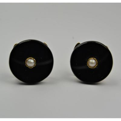 Buttons Of Chestnut In Gold, Onyx And Beads XIX Century