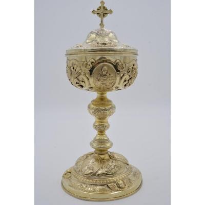 Ciborium In Vermeil, France Nineteenth Century By Poussielgue-rusand Placid