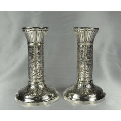 Pair Of Silver Candlesticks In Europe, Around 1900