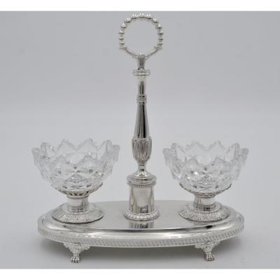 Double Saleron In Silver And Crystal, France, Paris 1819-1838