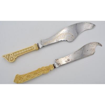 Russia XIX Century. Two Knives To Serve Fish, Steel And Ivory.