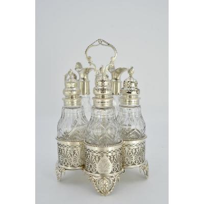 Service à Condiments En Argent Et Cristal, Londres Vers 1777