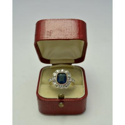 Imperial Russia. Gold Ring, Sapphire And Diamonds Circa 1908-1917