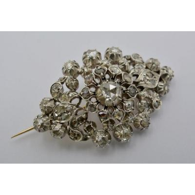 Brooch In Silver And Diamonds. France XIXth Century