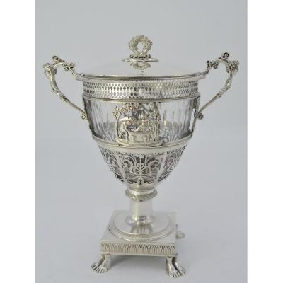 Sugar Bowl In Silver And Crystal, France 1809-1819