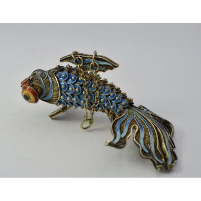 Articulated Fish In Vermeil And Enamel