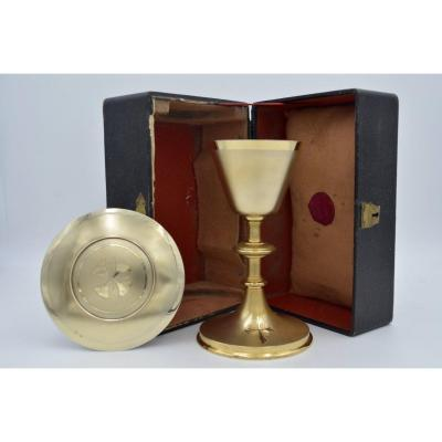 Chalice In Gilded Silver And Bronze, Paten, Box France Around 1900