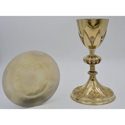 Chalice And Paten In Silver, France XIXth Century