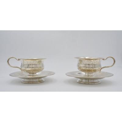Paire De Tasses Et Leur Sous-tasses En Argent époque Napoleon III