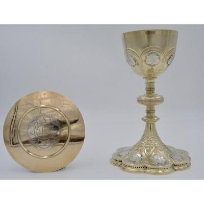 Chalice And Paten In Silver And Vermeil, France XIXth Century