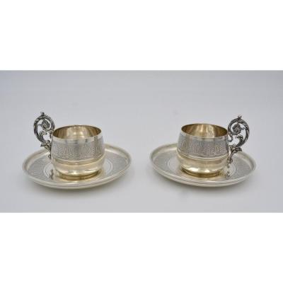 Puiforcat. Pair Of Cups And Their Silver Saucers Around 1900