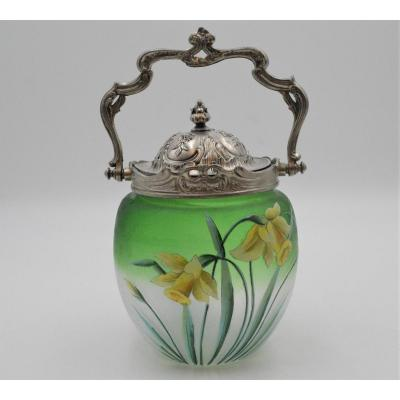 Biscuit Bucket In Enameled Glass And Silver Metal Decorated With Daffodils Art Nouveau