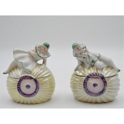 Art Deco Pierrot And Colombine Porcelain Rice Powder Boxes
