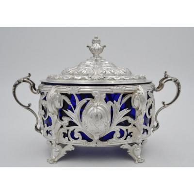 Sugar Bowl In Silver And Blue Crystal, France XIXth Century
