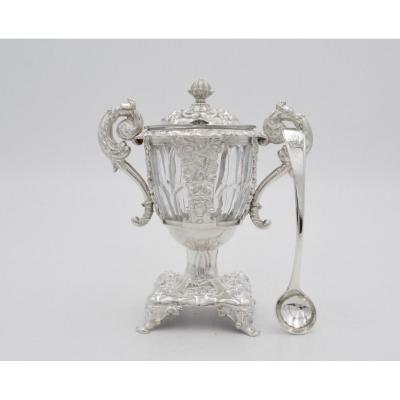 Mustard Pot In Silver And Crystal, France Nineteenth Century