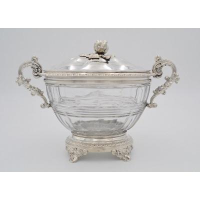 Sucrier En Argent Et Cristal Translucide  France Vers 1840