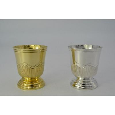 Pair Of Egg Cups In Silver And Vermeil France Mid 20th Century / By Cardeihac Orfèvre