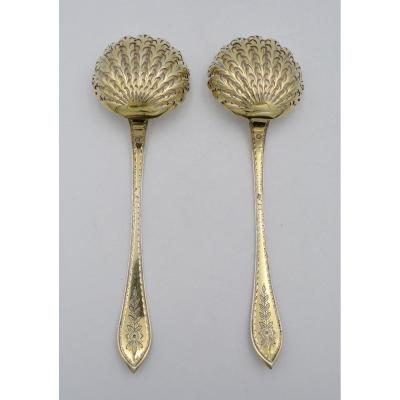 Pair Of Gilt Silver Sugar Spoons, France Circa 1819-1838