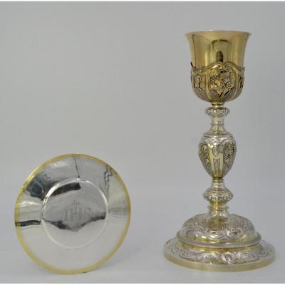 Chalice In Silver, Paten France Around 1850