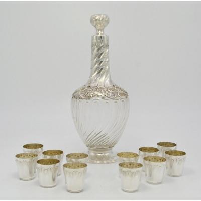 Carafe And Twelve Buckets, Crystal And Silver France Around 1900