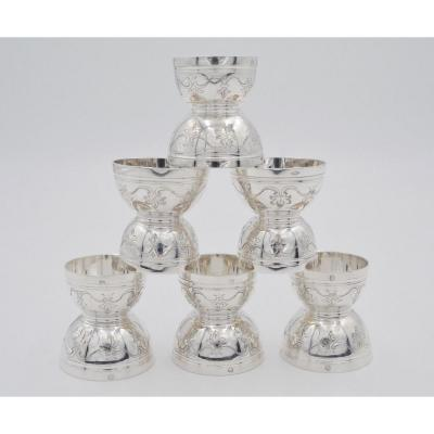 Silver Egg Cups / Set Of Six / France Late 19th Century