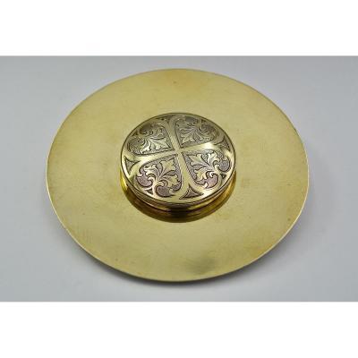 Custos / Hostia Box, Gilded Silver By Brems-varain Around 1900