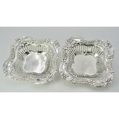 Art Nouveau. Pair Of American Silver Raviers Around 1900